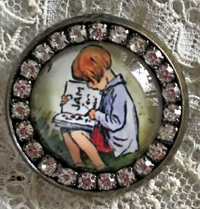 CHRISTOPHER ROBIN Glass Rhinestone BROOCH Lapel Pin Reading Book Winnie the Pooh