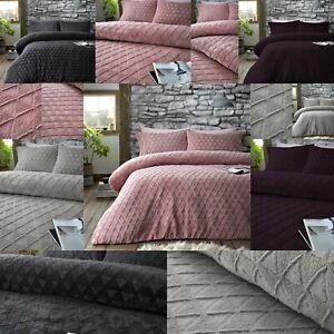 Super Soft Geo Triangle Embossed Teddy Bear Sherpa Wool Feel Duvet Cover Set
