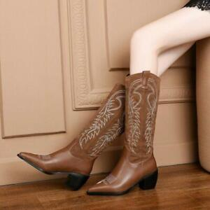 Womens Fashion Two Tone Embroidered Mid Heel Knee High Cowboy Boots Shoes