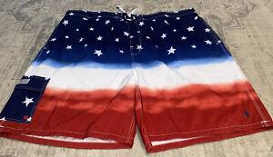 NWOT Mens Polo Ralph Lauren Red Blue Flag Stars   swimming trunks Shorts sz 6XB