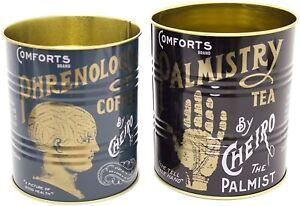 Set Of 2 Phrenology Palmistry Cheiro Retro Storage Tin - Decorative Display Can