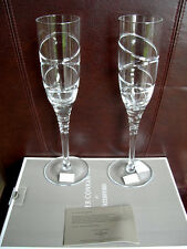 2 WATERFORD CHAMPAGNE FLUTES JASPER CONRAN AURA II 2 NEW BOXED WITH CERTIFICATE