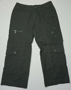 Eddie Bauer Mercer Fit Women's Size 2 Black Cargo Utility Cropped Capri Pants