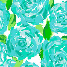 Lilly Pulitzer Poolside Blue First Impression Cotton Poplin Fabric BTY x 57""