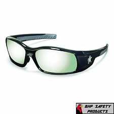 16e503740a8 MCR CREWS SWAGGER SAFETY GLASSES SR117 BLACK FRAME SILVER MIRROR LENS  SUNGLASSES
