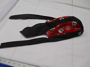 Margie's Doo-rags Black with Red and White Skulls