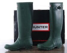 Hunter Green Matte Rubber Rain Boots Original Tall Women's Size 7 MED W23177 NEW