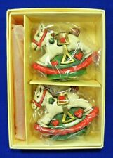 Holiday Memories Collector Ornament Miniature Rocking Horse Holder & Candles Set