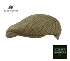 Failsworth English Tweed Flat Cap Mallalieus Tweeds Brown Blue Houndstooth 10803