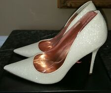 NINA-BLANCHE-IVORY Glitter, Bridal, Formal Prom shoes, Women's size 9.5 M, NIB