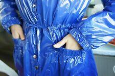 Rare Vintage Shiny Nylon Shiny Nylon Brilant wetlook Hooded Coat, Raincoat M