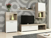 Living room furniture set TV unit glass shelf cupboard LED light white sonoma