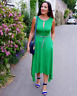 Karen Millen Green Draped Plunge Jersey Holiday Asymmetric Party Dress 10 38 New