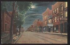 POSTCARD MARION IN/INDIANA 4TH STREET BUSINESS STORE FRONT NIGHT VIEW 1907