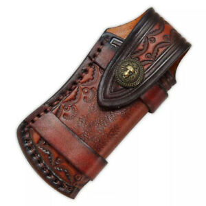 """Hand Made Carved Cow Leather Sheath For 4.7"""" Folding Knife Cover Pouch Belt Clip"""