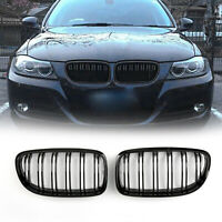 Front Kidney Hood Grilles Gloss Black For BMW E90/E91 LCI 3 Series 2008-2012 A01