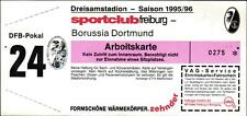 Ticket DFB-Pokal 95/96 SC Freiburg - Borussia Dortmund, Stehplatz Arbeitskarte