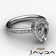 Diamond Engagement Ring Halo Pave Set 0.55Ct Platinum 950 Pear Shape Semi Mount