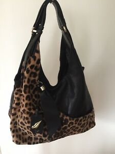Diane Von Furstenberg DVF Handbag Leopard Print Leather Straps Women Bag Tote