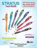 Promotional Stylus tip Ink Pens 250 Custom Imprinted for Less