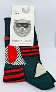 Pair Of Thieves Mens Crew Socks 8-12 Geometric Black Red 1 Pair New