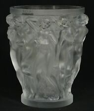"LARGE LALIQUE FROSTED CRYSTAL BACCHANTES  VASE ~ 9.75"" WITH ORIGINAL STICKER"