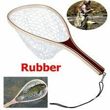 Wooden Fly Fishing Landing Net Carbon Frame Clear Rubber Net Nomad Hand Mesh