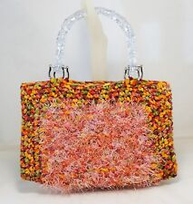 FUZZY HAND CROCHETED KNIT ORANGE PINK GREEN PURSE LINED HANDBAG W/CLEAR HANDLES