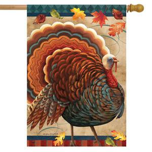 "Fall Turkey House Flag Thankskgiving Autumn Tom 28"" x 40"" Briarwood Lane"