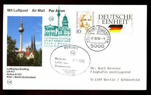 Germany 1990  First Flight Cover FFC, Koln - Berlin #C5023