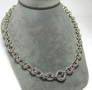 JUDITH RIPKA Sterling Silver Textured Link Lobster Clasp Necklace  104.4 grams
