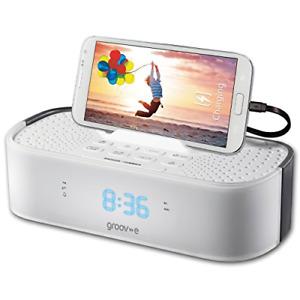 Groov-e Time Curve Digital Alarm Clock FM Radio with USB Charging Station, LED -