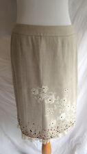 Mac & Jac 8 Herringbone Wool Blend Lace Flower Trim Sequin Embellished Skirt