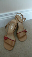 Jones Bootmaker Tan Caramel & Red Leather Ankle Strap Wedge Sandals Size 36 UK 3