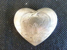 "1 5/8"" H 1 5/8"" Silver Engraved Heart Pin Brooch W"