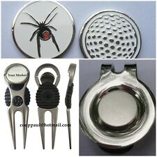 2 only RED BACK SPIDER  GOLF BALL MARKERS WITH NICE  DIVOT TOOL & HAT CLIP SET