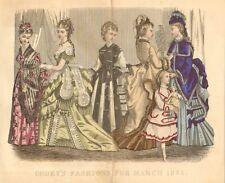 Victorian, Ladies Fashion, Dress, Child w Doll, Vintage, 1874 Antique Art Print,