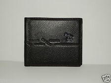 Mens Wallet Hong Bifold Leather Black BNWT Dual Note Slot *FREE POST* Slim Line