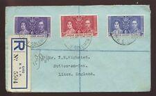 BRITISH SOLOMON ISLANDS 1938 REGISTERED...CORONATION SET on COVER