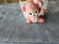 Lefton Ceramic Planter Pink Teddy Bear Blue Blocks Baby Nursery Numbered