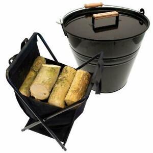 Valiant Log Storage Basket and Kindling Storage Bucket Double Pack