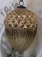 Weihnachtskugel Eichel Glas Gold Christbaumschmuck shabby chic Vintage 21cm