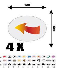 4X autocollant Oval  15cm avec impression  FLECHE REF A8 flèche DIRECTION