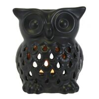 Black Ceramic Owl Deep Oil Wax Burner Tealight Holder Ornament Ideal Gift