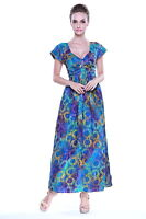 Maxi Long Batik Dress Sundress Elastic Tropical Hawaiian Hand Print Sunflower BG