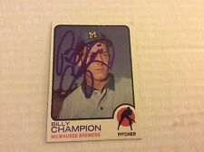 1973 Topps 74 Billy Champion Autographed Auto Signed Card