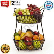 Wrought Iron Fruit Basket 2 Tier Wire Stand Iron Metal Tiered Vegetable Holder