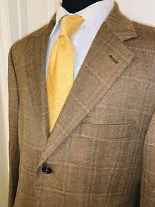 Stunning Harold Powell 100% Cashmere Windowpane Sport Coat Sz 42 Long