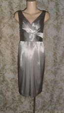 LOVERS Sz 8 grey viscose linen pleated front V neck sleeveless Dress As New