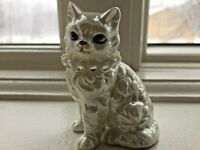 "Vintage Cat Figurine White ""Mother of Pearl"" w/Rhinestone Necklace 2 1/2"""